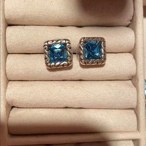 Deep blue Topaz color earrings (costume jewelry)